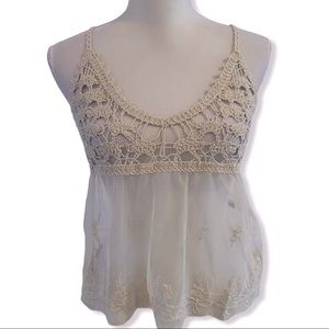 Cropped Sheer Lace Crochet Babydoll Tank Top Ivory